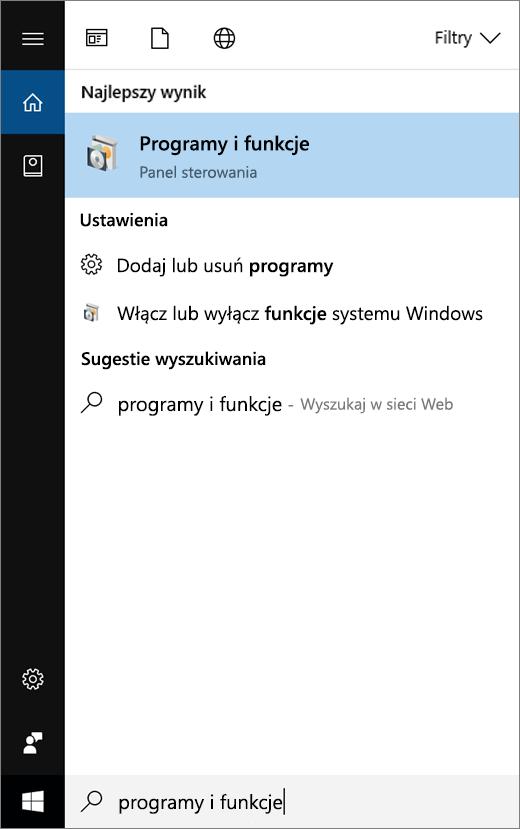 Otwórz menu Start i wpisz nazwę Programy i funkcje.
