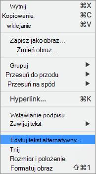 Tekst alternatywny opcję w menu kontekstowym w programie Word