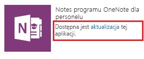 Zrzut ekranu przedstawiający link aktualizacji aplikacji Kreator notesu dla personelu.