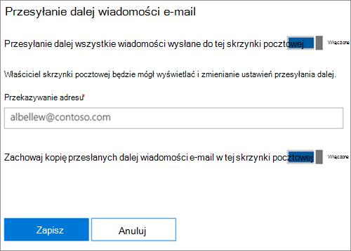 Zrzut ekranu: Wprowadź przekazywanie adres e-mail