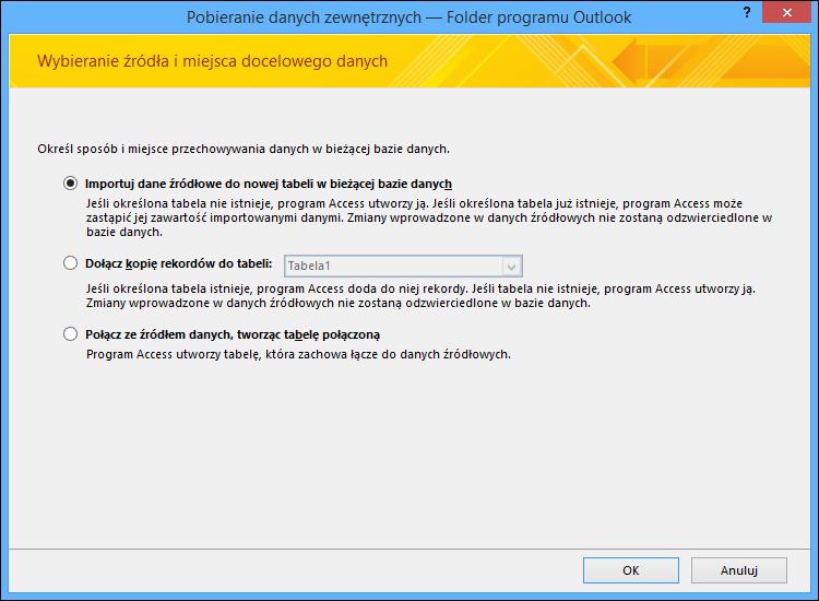 Wybierz importowanie, dołączanie lub łączenie folderu programu Outlook.