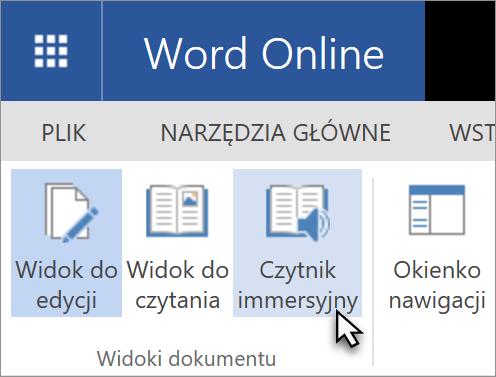 Otwieranie narzędzia do nauki w aplikacji Word Web App, wybierając kartę Widok
