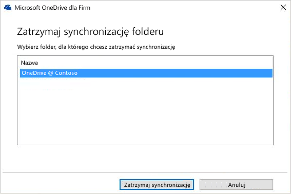 Zrzut ekranu przedstawiający okno dialogowe Zatrzymywanie synchronizacji folderu