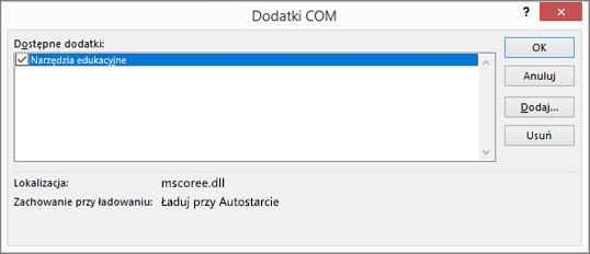 Zarządzaj: Dodatki COM