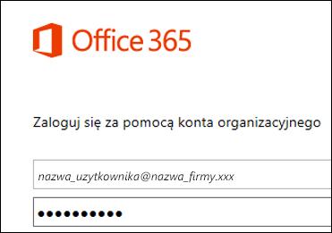 Ekran logowania w portalu usługi Office 365
