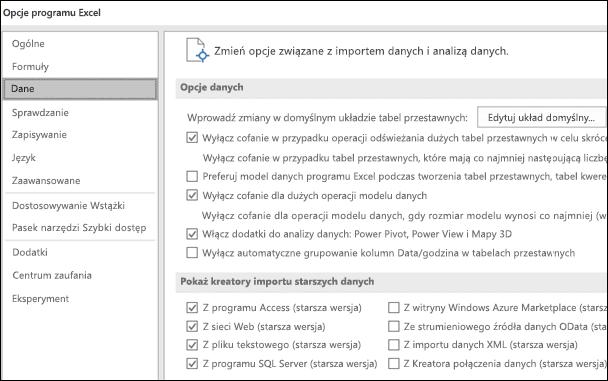 Opcje dane zostały przeniesione z pliku > Opcje > Zaawansowane sekcji do nowej karty o nazwie dane w obszarze Plik > Opcje.