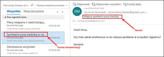 Outlook wiadomości według tematu konwersacji na liście wiadomości.