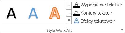 Grupa style tekstu WordArt