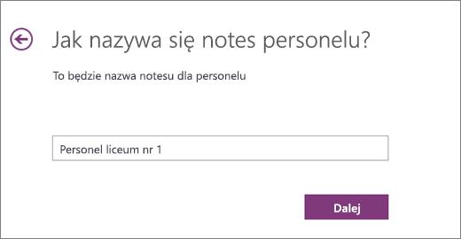 Wybierz nazwę notesu personelu
