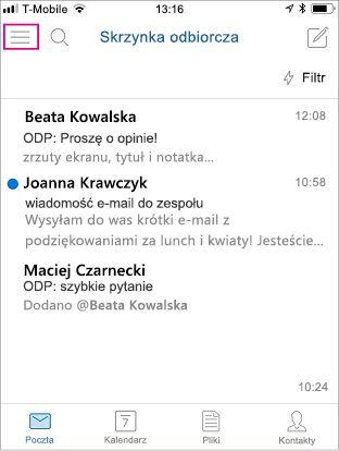 Ekran główny aplikacji Outlook Mobile z wyróżnionym przyciskiem menu