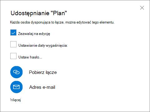 Zrzut ekranu przedstawiający okno dialogowe Udostępnianie