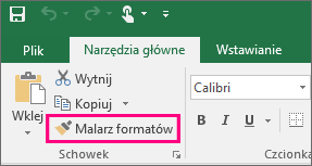 Przycisk Malarz formatów w programie Excel