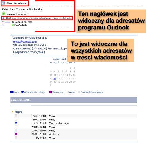 Przykład kalendarza odebranego przy użyciu funkcji Wyślij kalendarz pocztą e-mail