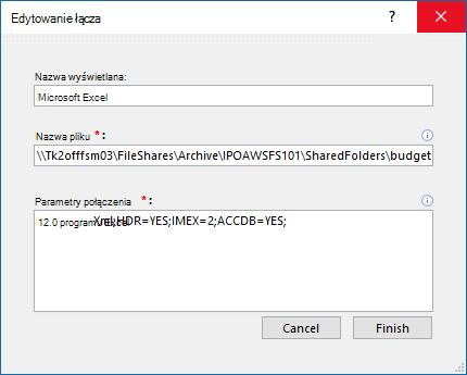 Okno dialogowe Edytowanie łącza dla źródła danych programu Excel