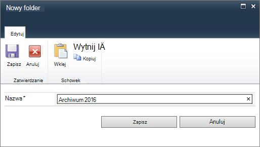 Okno dialogowe programu SharePoint 2010 nowy Folder.