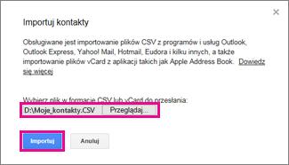 Usługa Google Gmail —okno dialogowe Importuj kontakty