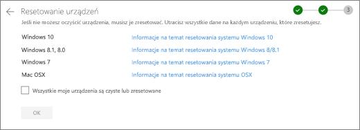 Zrzut ekranu urządzeń pozostałych w witrynie internetowej usługi OneDrive