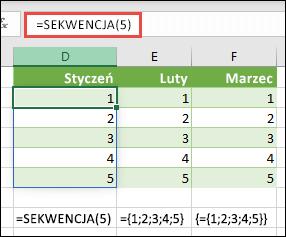 Tworzenie pionowej stałej tablicowej z = sekwencja (5) lub = {1; 2; 3; 4; 5}