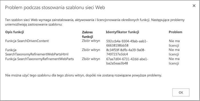 Zrzut ekranu przedstawiający komunikat o błędzie, który może zostać wyświetlony, jeśli niedostępne funkcje uniemożliwiają utworzenie witryny w usłudze SharePoint Online.