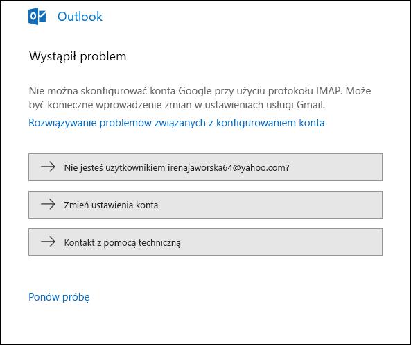 Wystąpił problem z dodawaniem konta e-mail do programu Outlook.