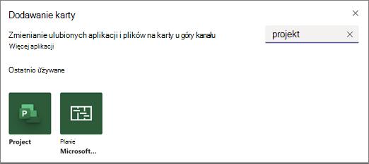 Zrzut ekranu przedstawiający okno dialogowe Dodawanie karty i wyniki wyszukiwania dla projektu terminu