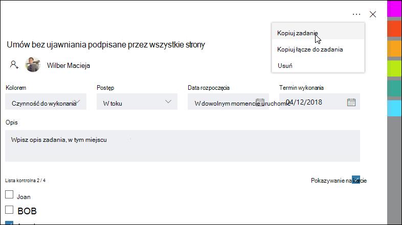 Przechwytywania ekranu: Wyświetla otwarte zadanie i menu więcej w prawym górnym rogu.