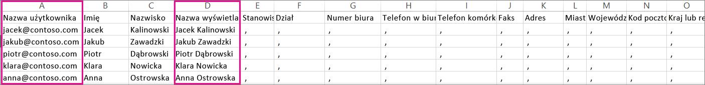 Przykładowy plik CSV z określonymi pustymi wierszami
