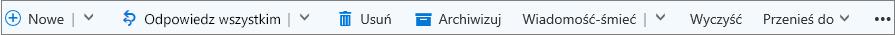 Pasek poleceń usługi Outlook.com, który pojawia się po wybraniu wiadomości