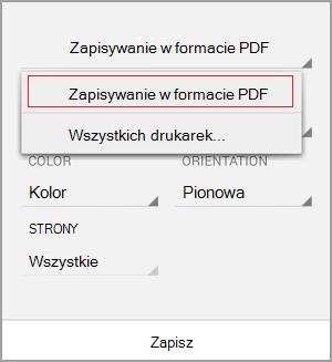 Wybierz pozycję Zapisz jako plik PDF