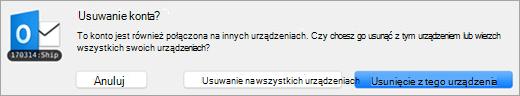 Zrzut ekranu przedstawiający okno dialogowe Usuwanie konta