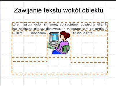 Slajd z wstawionym obiektem, pola tekstowe i część tekstu