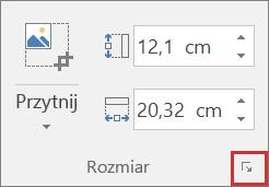 Zrzut ekranu przedstawiający przycisk Rozmiar i położenie na karcie Formatowanie.