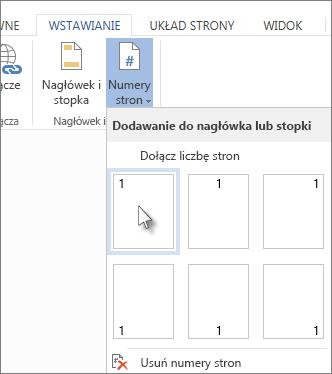Obraz galerii układów numerów stron otwieranej po kliknięciu opcji Numery stron na karcie Wstawianie.