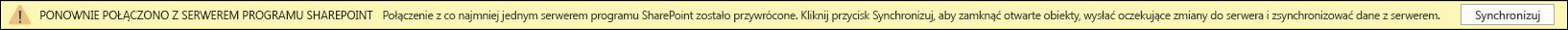 Kliknij pozycję Synchronizuj, aby ponownie połączyć się z serwerem programu SharePoint.