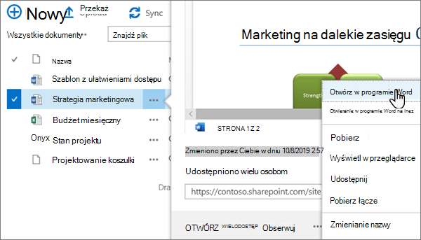 Opcja Otwórz > Otwórz w aplikacji wybrana dla pliku programu Word w widoku klasycznym portalu usługi OneDrive online