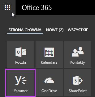 Zrzut ekranu: uruchamianie aplikacji usługi Office 365 z wyświetloną usługą Yammer