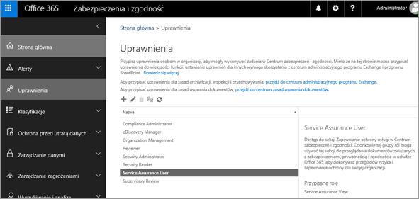 Zrzut ekranu przedstawiający stronę uprawnień Centrum zabezpieczeń i zgodności z wybraną pozycją Użytkownik zapewniania ochrony usługi.