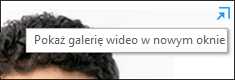 Zrzut ekranu: polecenie Pokaż galerię wideo w nowym oknie