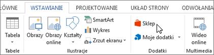 Zrzut ekranu przedstawiający część karta Wstawianie na wstążce programu Word z kursorem wskazującym w magazynie. Wybierz pozycję Magazyn, aby przejść do sklepu Office i poszukaj dodatków dla programu Word.