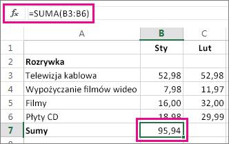 Przykład funkcji Autosumowanie z wyświetlanym wynikiem