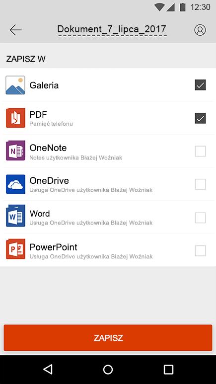 Zrzut ekranu: eksportowanie zrzutu ekranu w aplikacji Office Lens dla systemu Android.