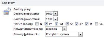 Sekcja Czas pracy w oknie dialogowym Opcje programu Outlook