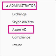 Menu Administrator w usłudze Office 365. Wybór trzeciej opcji, czyli Azure AD.
