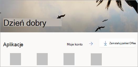 Zrzut ekranu przedstawiający stronę główną usługi Office.com po zalogowaniu się