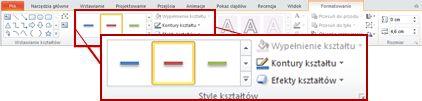 Karta Formatowanie w obszarze Narzędzia do rysowania w programie PowerPoint 2010.