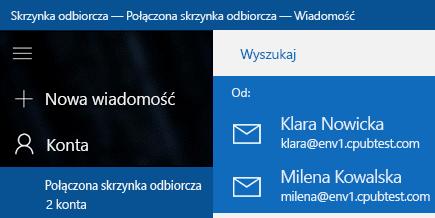 Wybieranie konta w celu wysłania nowej wiadomości