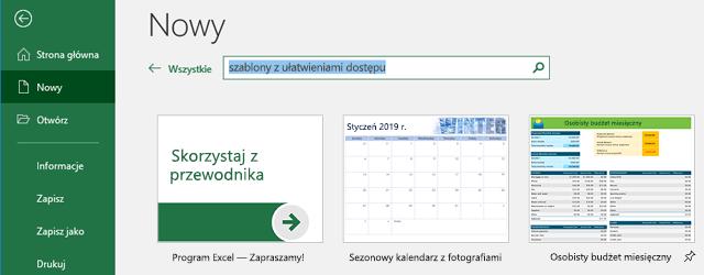 Nowa karta menu plik z użyciem pola wyszukiwania szablonów w trybie online w użyciu
