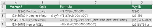 Formaty specjalne funkcji TEKST