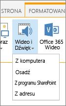 Przycisk Wstaw klip wideo lub audio na Wstążce edytowanie