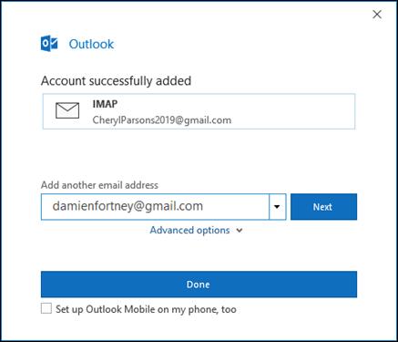 Wybierz pozycję gotowy, aby zakończyć konfigurowanie konta Gmail.